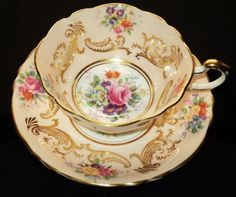 Paragon England Apricot Pink Very Pretty Square Wide Tea Cup and Saucer | eBay