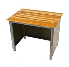 sturdy practical original c. vintage american industrial cold-rolled steel western union telegraph operator table with newly added hickory wood top Industrial Table, Industrial Furniture, Vintage Industrial, Hickory Wood, Cold Rolled, Western Union, Repurposed Furniture, Table Furniture, Steel