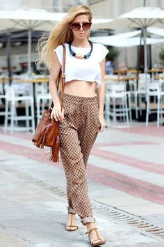 these pants are typically pretty high waisted, which makes them perfect for boxy crop tops like this. add a statement necklace and you're good to go