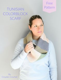 Tunisian Crochet Colorblock Scarf - A free pattern by Croyden Crochet Crochet Scarves, Crochet Yarn, Crochet Stitches, Free Crochet, Crochet Patterns, Crochet Cozy, Crochet Clutch, Tunisian Crochet, Learn To Crochet