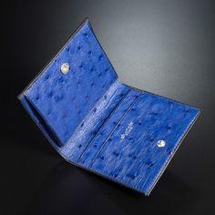 Luxury bespoke Ostrich cardholder in ocean blue