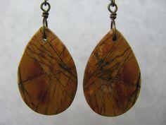 Medium Length, Teardrop, Red Creek Jasper Stone Slice Dangle, Antique Brass Wire Wrapped Earrings, Leverback Ear Wire by EarthlyTreasures2015 on Etsy