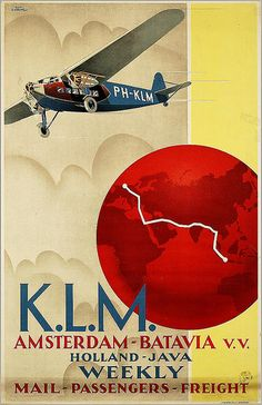 KLM Royal Dutch Air Lines Poster, Advertising, Commercial Aviation, c. Tourism Poster, Poster Ads, Old Advertisements, Advertising Poster, Vintage Travel Posters, Vintage Ads, Vintage Images, Old Posters, Historic Posters