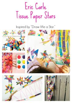 Easy Eric Carle Craft for Kids Tissue Paper Stars Inspired by Draw Me a Star Creative Activities For Kids, Fun Crafts For Kids, Projects For Kids, Art For Kids, Library Activities, Creative Play, Summer Camp Crafts, Camping Crafts, Preschool Painting
