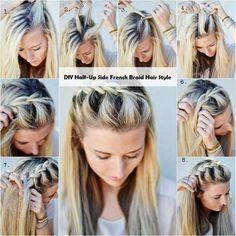 DIY Half-Up Side French Braid Hair Style | http://www.adorablehairstyles.com/diy-half-up-side-french-braid-hair-style/