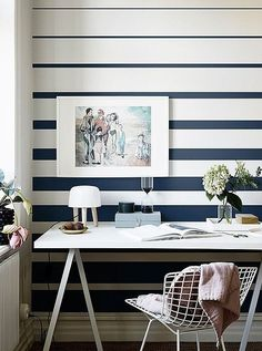 Fjordbyen is a wall mural that is inspired by frozen seas and vast spaces. Crisp, blue shades provide a cool, peaceful, elegant frame for a classic aesthetic. Striped Walls Bedroom, Bedroom Wall, Wall Paint Patterns, Room Wall Painting, Painting Designs On Walls, Striped Wallpaper, Home Office Design, New Room, Room Decor