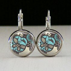 Pacific Blue Photo Glass Tile Earrings Pacific by joannajewelry, $10.95