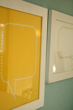 Quote bubbles in frames, use a dry erase marker to write quotes.  I could make this for the girls' rooms!