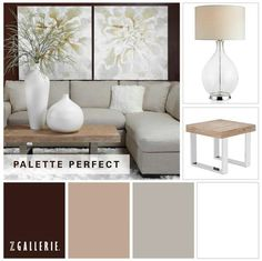 Z Gallerie palette of soft grey, tan and rich brown and soft white