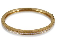 Penny Preville Engraved Hinged Bangle Bracelet, Fashioned in 18K Yellow Gold