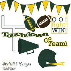 Football Clip Art - Personal or Commercial Use Green and Yellow Green Bay Packers Logo, Go Packers, Packers Football, Football Baby, Football Clip Art, Football Clips, Frowny Face, Porch Signs, Classroom Themes