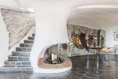 Sculptural living: Jacques Couelle-designed property in Mouans-Sartoux, south-east France - WowHaus Mediterranean Sculptures, Mediterranean Homes, Fireplace Hearth, Fireplace Surrounds, Organic Architecture, Interior Architecture, Nice Cote D Azur, Surface Habitable, Mid-century Interior