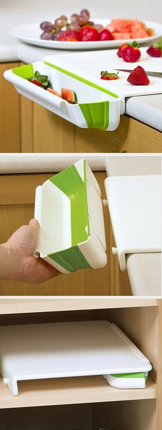 No more pushing ....Cutting board with bin to catch scraps - stores flat.