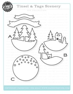 the main Tinsel & Tags kit Paper Art, Paper Crafts, Tunnel Book, Christmas Crafts, Christmas Ornaments, Paper Ornaments, Theme Noel, Felt Patterns, Marianne Design