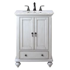 Home Decorators Collection Newport 25 in. W x 21.5 in. D Single Vanity in Pewter with Granite Vanity Top in Grey with White Basin 1972700290 at The Home Depot - Mobile
