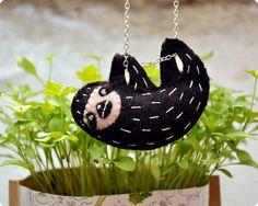 Cute Sloth felt handmade necklace by MemiTheRainbow on Etsy, $25.00