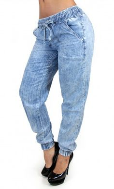Acid Wash Maripily Denim Jogger  #JeanoftheDay #MaripilyJeans #JoggerPants