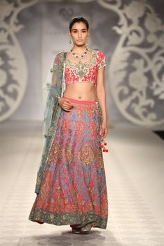 such a colorful Indian lengha | Varun Bahl Smokey Pastel Collection {India Couture Week 2014} - Gallery - TheBigFatIndianWedding.com