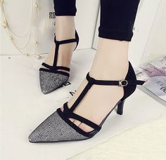 Women T-Strap Med Heels Pointed Toe Paillette Stiletto Strappy Vogue Shoes X787