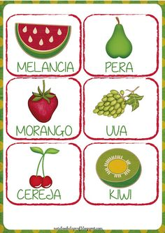 Notebook da Profª: Projeto As Frutas - Flash cards