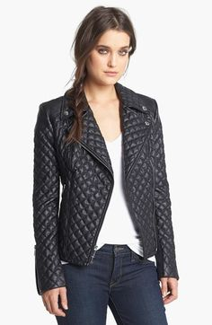 BCBGeneration Quilted Faux Leather Moto Jacket available at #Nordstrom
