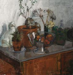 William Bowyer (British, born 1926),  Still life with plants and fruit, oil on board, 69 x 67cm