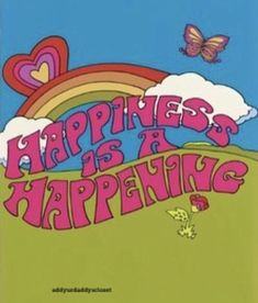 Happiness is a Happening Art Print Illustration by Dawn Aquarius Bedroom Wall Collage, Photo Wall Collage, Picture Wall, Collage Art, Quote Collage, Room Posters, Poster Wall, Poster Prints, Art Print