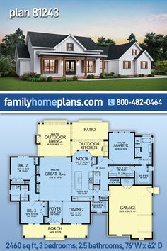 Beautiful Country Farmhouse Home Plan with an open floor plan, two car garage, split bedroom and a large master suit. Outside you will find a side load garage, an inviting front porch and a great outdoor entertainment porch out back with fireplace and oudoor kitchen. Country house plan - Farmhouse design - Country Living - 3 Bedroom House Plan #houseplan #floorplans #architectural #newhome #newconstruction #newhouse #homeplan #home #house #newhouseplan #blueprints #futurehome #newhomeplan