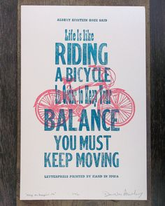Limited Edition Letterpress Bicycling Art Print