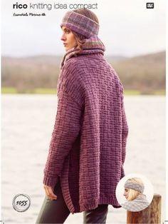 Rico KIC 1055 Basketweave Stitch Cardigan & Headband Knitting Patterns Free, Free Pattern, Crochet Patterns, Knitting Ideas, Diy Trend, Office Prints, Rico Design, Cardigan Pattern, Trends