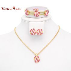 Best Gift for Your Girl /Gold plated Pink & Blue Stone Necklace Set /Children's gift jewelry for kid Baby , Free Shipping