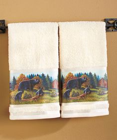 """Welcome the outdoors into your bathroom with the Black Bear Bath Collection. The Shower Curtain (70"""" x 72"""") features a scenic mountainside landscape with brown,"""