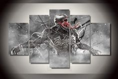 Style Your Home Today With This Amazing 5 Piece Multi Panel Modern Home Decor Framed Venom Marvel Comics Wall Canvas Art For $99.98  Discover more canvas selection here http://www.octotreasures.com  If you want to create a customized canvas by printing your own pictures or photos, please contact us.