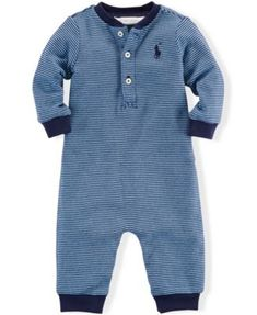 Polo Ralph Lauren Baby Boys' Striped Henley Coverall
