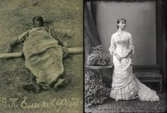 The brutal murder of Grand Duchess Elisabeth Feodorovna of Russia.This Picture on the left is of Elisabeth's corpse after it had been pulled out of the pit. The picture on the right is of Elisabeth in 1878 at the age of 14.