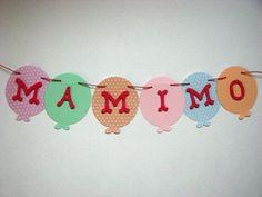 Banner nume realizat manual din carton colorat in forma de baloane  <span style= Boutique, Party, Parties, Boutiques