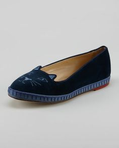Capri Cats Cotton Velvet Cat-Face Slipper, Blue by Charlotte Olympia at Neiman Marcus.