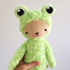 Kawaii Frog Teddy Bear Stuffed Animal in Light Green Minky Large