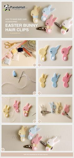 to make baby hair accessories project aims to tell you an interesting way to handcraft Easter bunny barrettes for kids. Within just a few simple materials you can make these fancy cuties. Felt Hair Accessories, Diy Accessories, Felt Diy, Felt Crafts, Diy Crafts, Baby Bows, Baby Headbands, Felt Flowers, Fabric Flowers