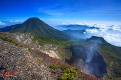 Pangrango mountain, view from top of Gede mountain, West Java, Indonesia