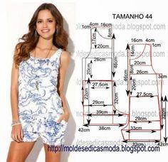 Sewing Pattern for Jumper Dress Sewing Patterns, Sewing Patterns Free, Clothing Patterns, Fashion Sewing, Diy Fashion, Ideias Fashion, Sewing Pants, Sewing Clothes, Diy Pantalon