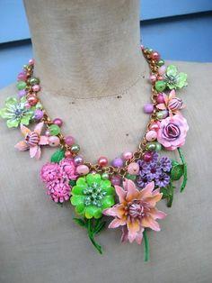 In+Full+Bloom++Vintage+Enamel+Flower+Statement+by+rebecca3030