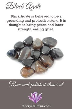 A deep brown to black colour, Black Agate is believed to bring peace and strength while easing grief. Thought to ground and protect, Black Agate is a wonderful stone to carry and work with. Visit us for Agate and so much more!