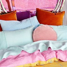 Kip & Co hounding lemon + cashmere rose linen duvet cover - totally my dream set and love this teamed with mint linen sheets and velvet cushions.  Layering perfection!  Available in the UK from Antipodream