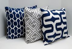 Navy Blue and Gray Pillow Covers 18x18 inch pillow covers Throw Pillows Decorative Pillow Covers via Etsy