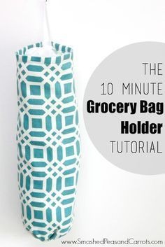 Learn how to make this easy Grocery Bag Holder in just 10 minutes using Riley Blake Home Decor Fabric.