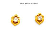 Gold Earrings for Women in 22K Gold with Cz - GER6639 - Indian Jewelry from Totaram Jewelers