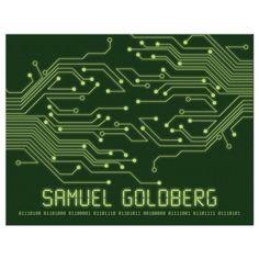 Green computer circuit board flat thank you card.