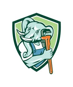 Illustration of an african elephant plumber mascot holding monkey wrench set inside shield crest on isolated background done in retro style.The zipped file includes editable vector EPS,