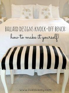 DIY Ballard Designs Knock-Off Bench